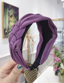 Fashion Purple Cloth Handmade Twist Side Knotted Wide-brimmed Headband