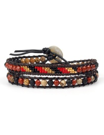 Fashion Red Bead Black Rope Woven Antique Jewel Stone Double-layer Bracelet