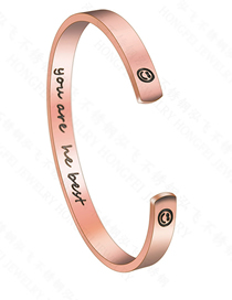 Fashion Rose Gold You Are Hebest Letter Smiley Open Bracelet