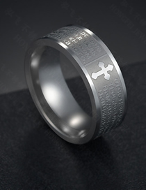 Fashion Steel Color 8mm Cross Bible Ring