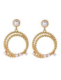 Fashion Gold Alloy Double Hemp Wreath Earrings