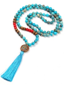 Fashion Blue Emperor Stone Beaded Knotted 108 Necklaces