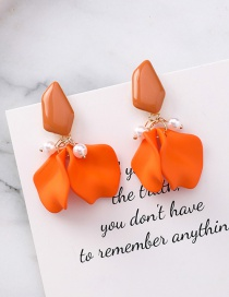 Fashion Orange Silver Needle Petal Earrings