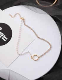 Fashion Gold Double Row Diamond Ring Pearl Necklace