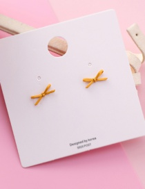 Fashion Yellow Spray Paint Bow 925 Silver Needle Earrings