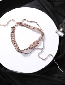 Fashion Gold Chain Winding Knotted Double Flash Drill Necklace