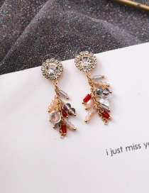 Fashion Transparent Drill Crystal Sunflower Flash Drill Tassel S925 Silver Needle Earrings