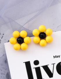 Fashion Yellow Flower Beaded Earrings