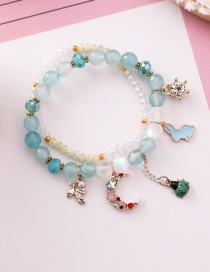 Fashion Blue Cartoon Rabbit Ladybug Crystal Agate Stone Double Beaded Bracelet