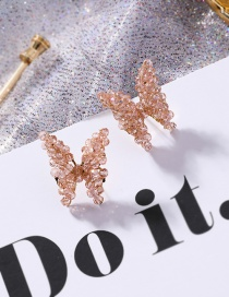Fashion Champagne 925 Silver Needle Woven Crystal Butterfly Stud Earrings