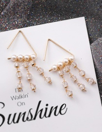 Fashion Gold Triangle Pearl Crystal Beaded Tassel Stud Earrings