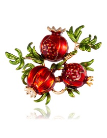 Fashion Color Alloy Dripping Pomegranate Brooch