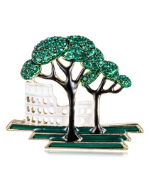 Fashion Color Alloy Dripping Oil-studded Tree Construction Brooch