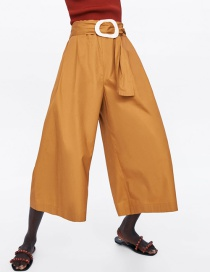 Fashion Khaki Nine-point Wide-leg Pants