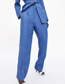 Fashion Blue Pleated Linen Pants