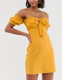 Fashion Yellow Tie Off-the-shoulder Mini Dress