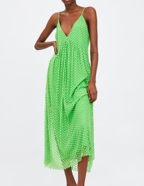 Fashion Green Tulle 绢 V V-neck Sling Dress