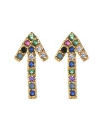 Fashion Gold Copper Inlaid Zircon Arrow Stud Earrings