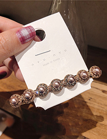 Fashion Champagne Gold Pearl Hairpin Pearl Spring Clip