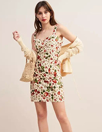 Fashion Creamy-white Strawberry Printed Dress