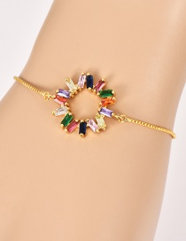 Fashion Gold Copper Inlay Zircon Geometric Bracelet