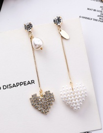 Fashion Gold 925 Silver Needle Pearl Love Long Asymmetric Stud Earrings