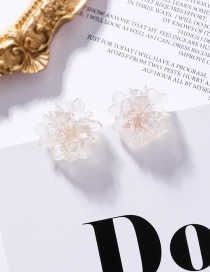 Fashion White 925 Silver Transparent Texture Acrylic Stereo Flower Earrings