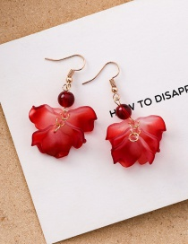 Fashion Short Paragraph Multi-layered Petal Red Pearl Stud Earrings