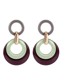Fashion Red Wine Size Circle Two-color Acrylic Earrings