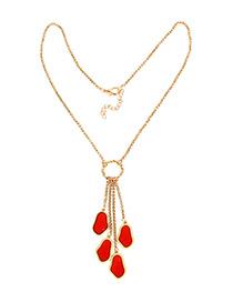 Fashion Red Irregular Tassel Necklace