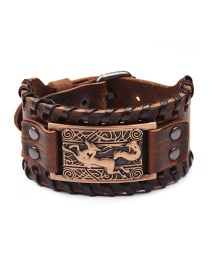 Fashion Ancient Red Copper Metallic Leather Extra Wide Bracelet