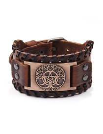 Fashion Ancient Red Copper Pentagram Leather Moon Life Tree Bracelet