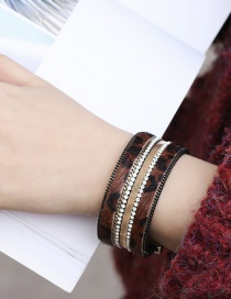 Fashion Brown Leopard Leather Alloy Magnetic Buckled Diamond Bracelet