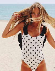 Fashion Black Spots On White Wave Point Halter Ruffled One-piece Swimsuit