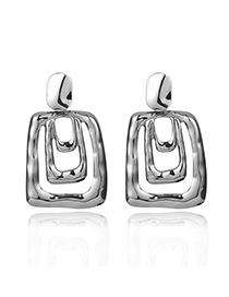 Fashion Silver Geometric Drip Earrings