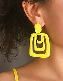 Fashion Yellow Geometric Drip Earrings