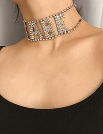 Fashion Silver Diamond Letter Babe Necklace