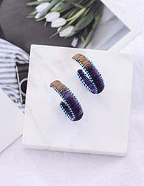 Fashion Navy Blue C-shaped Woven Rattan Color Earrings