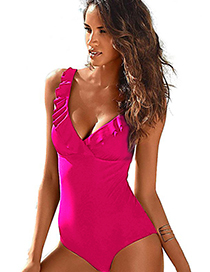 Fashion Rose Red V-neck Ruffled One-piece Swimsuit