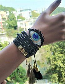 Fashion Black Suit Rice Beads Woven Bracelet