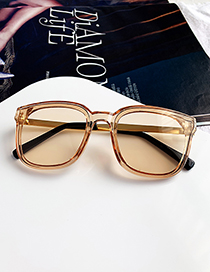 Fashion Champagne Resin Alloy Sunglasses