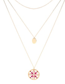 Fashion Gold Multilayer Flower Pearl Inlay Necklace