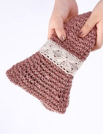 Fashion Pink Foldable Tether Crochet Straw Hat