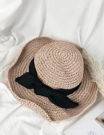 Fashion Pink Straw Bow Ribbon Sun Hat