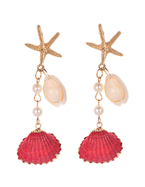 Fashion Rose Red Alloy Starfish Shell Earrings