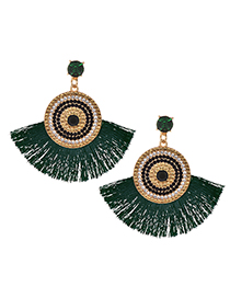 Fashion Green Alloy Studded Tassel Earrings