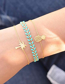 Fashion Pineapple + Coco Alloy Bracelet Set