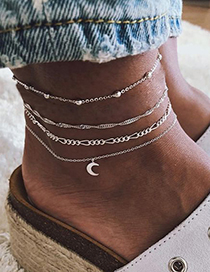 Fashion Silver Moon Rice Bead Chain Winding Alloy Anklet 4 Piece Set