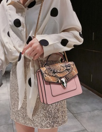 Fashion Pink Snake Contrast Snake-printed Crossbody Bag