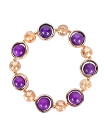 Fashion Purple Crystal Agate Alloy Bracelet
